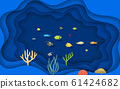 landscape of colorful coral and fish at the cave in the ocean 61424682