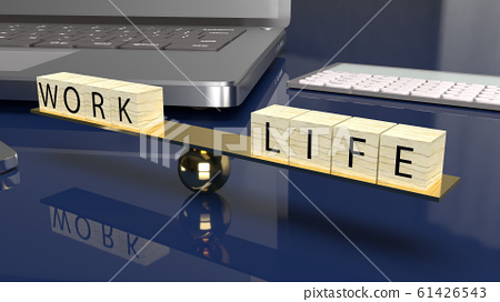 The wood cube work and life on plate balance 3d rendering for abstract content. 61426543