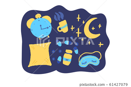 Insomnia vector hand drawn text. Stylized word. 61427079