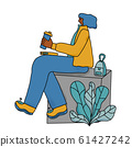Coffee break. Girl with hot drink. Vector design. 61427242
