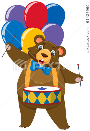 Single character of circus bear with balloons on 61427960