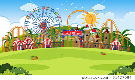 An outdoor scene with circus 61427994