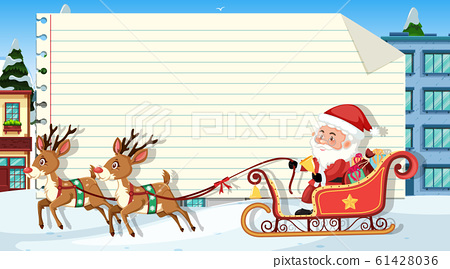 Paper template with Santa and reindeers 61428036