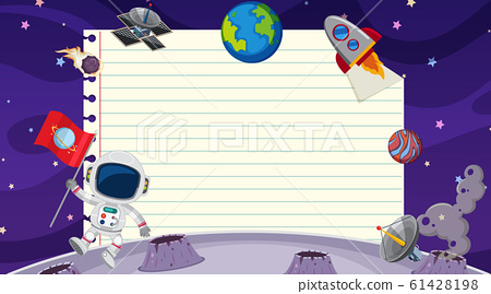 Border template with space theme in background 61428198