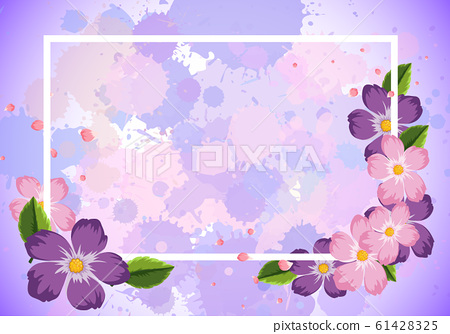 Frame template design with purple flowers 61428325
