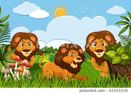 Lions in jungle scene 61428326