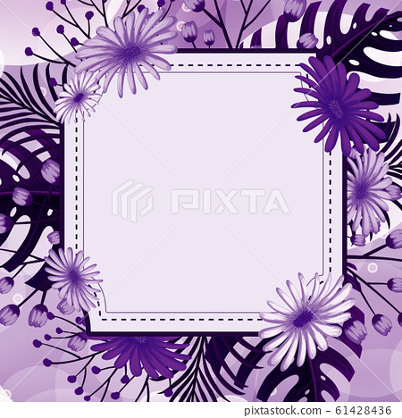 Background design with purple flowers 61428436