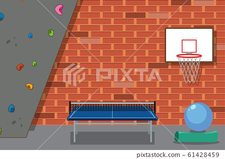 Leisure room with wall climbing and table tennis 61428459