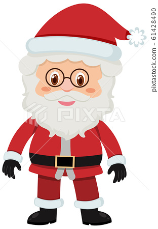 Single character of old Santa on white background 61428490