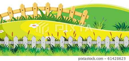 Landscape background with green field and fences 61428623