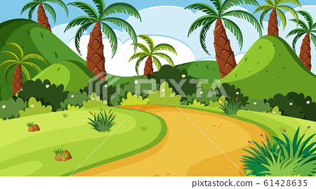 Nature scene with trail and trees in the park 61428635