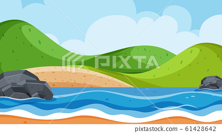 Landscape background design with ocean and green 61428642