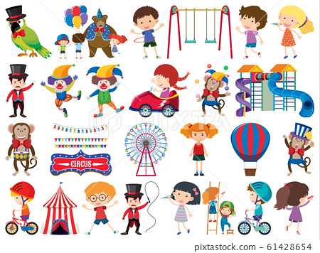 Large set of isolated objects of kids and circus 61428654