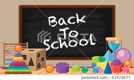 Back to school sign with many toys 61428675