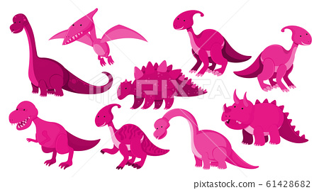 Large set of different types of dinosaurs in pink 61428682