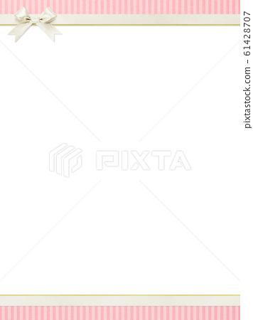 배경 - 핑크 - 스트라이프 - 리본 - 프레임 61428707