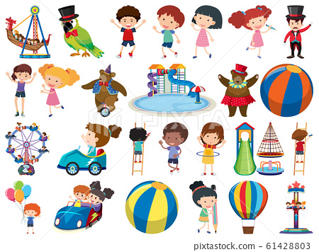 Large set of isolated objects of kids and circus 61428803