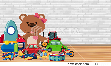 Background with many toys on the floor 61428822
