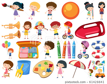 Set of isolated objects of kids and school items 61428841
