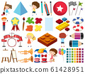 Set of isolated objects of kids and stationeries 61428951