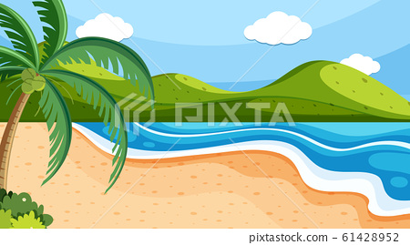 Nature scene with ocean and hills 61428952