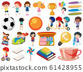 Set of isolated objects of kids and school items 61428955