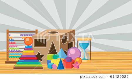 Room with blocks and shapes on wooden floor 61429023