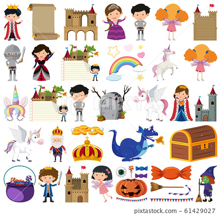 Set of isolated objects theme fairytales 61429027