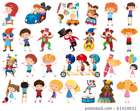 Large set of isolated objects of kids and circus 61429032