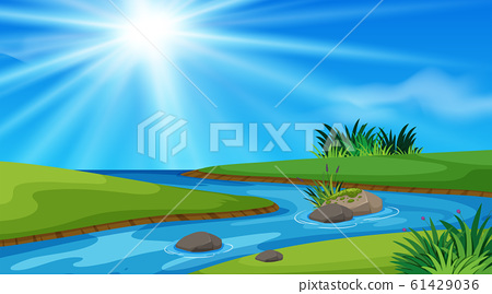 Nature scene background with river and green field 61429036