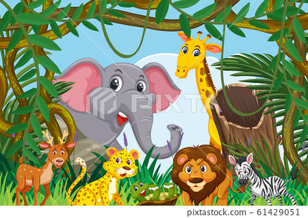 Cute animals in jungle scene 61429051