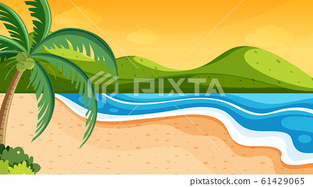 Nature scene with ocean at sunset 61429065