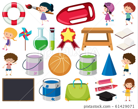 Set of isolated objects of children and school 61429071