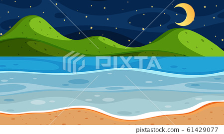 Nature scene with ocean at night 61429077