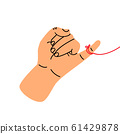 little finger making gesture of promise with red 61429878