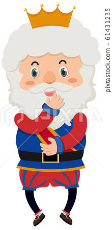 Single character of old king on white background 61431235