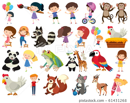 Set of isolated objects theme kids and animals 61431268