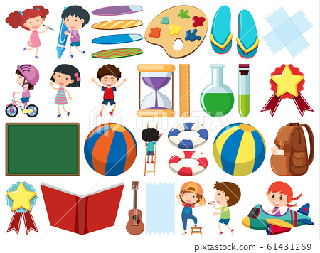 Set of isolated objects theme childhood 61431269
