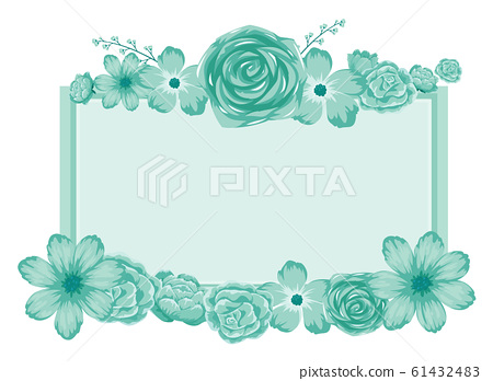 Background design with blue flowers 61432483