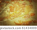 Map of The City. Navigation Tourist Guide, Route Urban Chart, Geographical Location. (Grunge Vintage Remake). 61434009