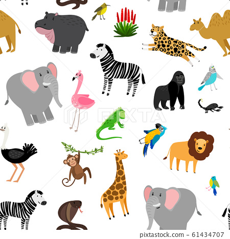 Africa animals pattern. African cute drawing animal seamless pattern for baby decoration with parrot and lion, giraffe and zebra 61434707