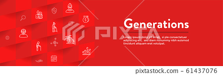 Generations and Aging Web Header Banner and Icon 61437076