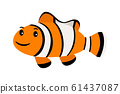 Clown fish. Underwater swimming funny smiling clownfish or anemonefish isolated on white 61437087