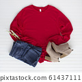 Red tshirt mockup with boots and jean. Pine cones 61437111