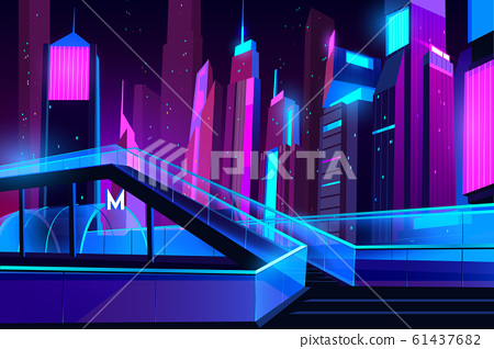 Metro entrance and glass overhead road night city 61437682