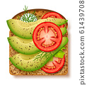 Avocado toast with fresh slices of ripe avocado, seasoning and dill, tomato and radish. 61439708