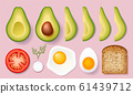 Set for cooking delicious toast with avocados. Vector illustration isolated on white background. 61439712