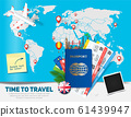 Banner concept for travel and tourism with passport, tickets and famous landmarks 61439947