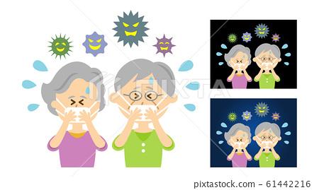 老人掩蓋防病毒的插圖圖像 61442216