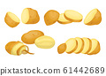 Raw Whole and Sliced Potatoes Close up Isolated on White Background Vector Set. 61442689